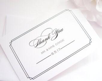 Elegant Thank You Cards - Simple Wedding Thank You Card, Folded Thank You Card, Printed Thank You Card - DEPOSIT