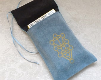 Silk Tarot Card Bag Hand-dyed Hand-painted, Kabbalah Tree of Life, Kabbalah Glyph, Blue, Turqoise OOAK