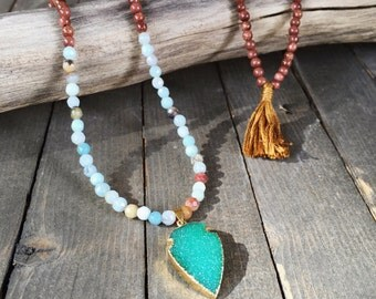 Long beaded necklace - arrowhead druzy necklace - beaded gemstone necklace - amazonite necklace - arrowhead necklace