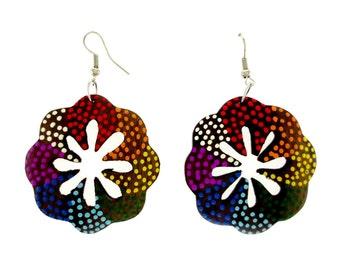 Batik Painted Wood Flower Cut-out Dangle Earrings