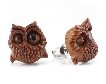 "Hand Carved - ""Spazzy"" - Sabo Wood with Ebony Wood Inlay - Stud Earring - Wisdom of Owls"
