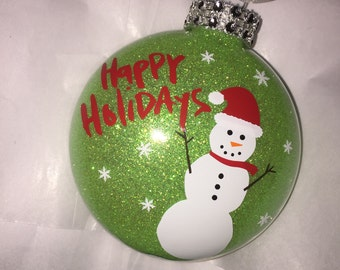 Happy Holidays Snowman Ornament