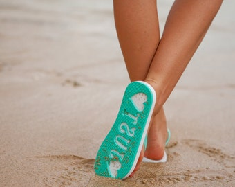 Ships Fast & Free! Just Married Imprint Honeymoon / Beach Wedding Flip Flops Slippers Stamp In Sand