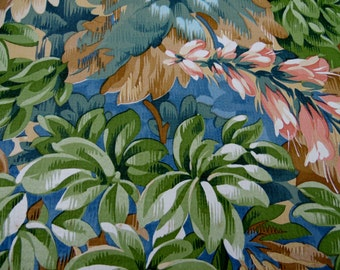 Vintage 40s/50s French vibrant floral wallpaper full roll green mustard pink peonies beautiful wallpaper