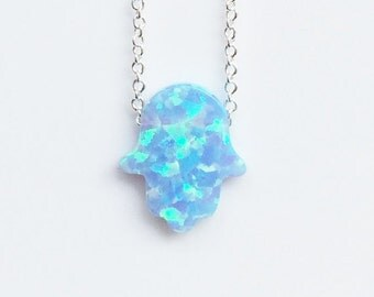 Opal Hamsa Necklace, 925 Sterling Silver Chain • Sky Blue Opal • Hot Item All Over The World Here at a Discounted Price