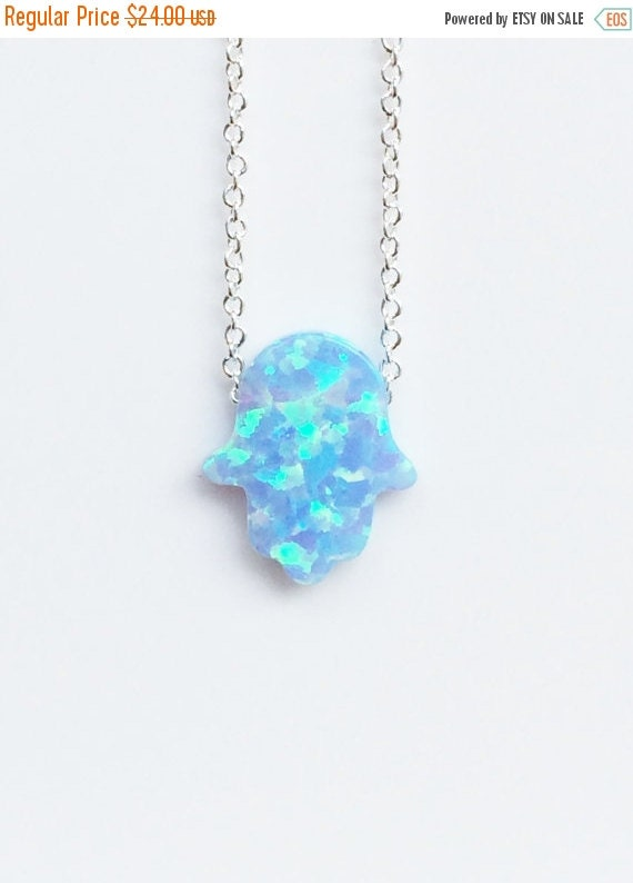 Opal hamsa necklace on a silver chain, Sky Blue HOT item all over the world here at a discounted price