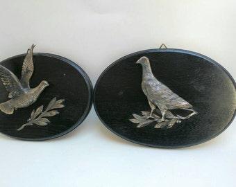 Set vintage wall plaques doves pidgeons