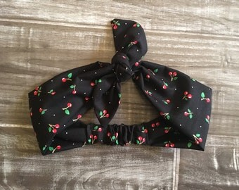 Rockabilly Cherry Print Headband - Pinup Headband - Cherries Headband - Rockabilly Headband - Pinup Girl Headband - Rockabilly Girl