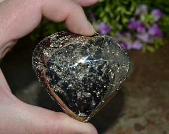 Pyrite  Crystal Heart