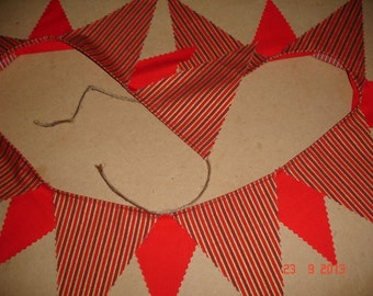 Red stripe christmas bunting