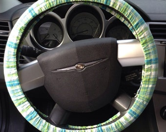 Blue, Green, and White Plaid Steering Wheel Cover
