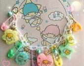 Gudetama charm bracelet pastel fairy kei