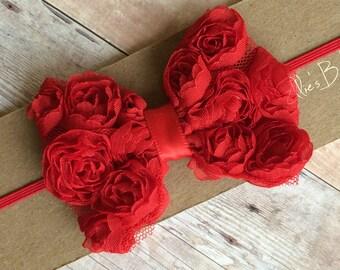 Baby Headband/ Red Baby Headband/ Red Bow Headband/ Red Headband/ Baby Headband Red/ Baby Bow Headband/ Newborn Headband/ Baby Headband Red