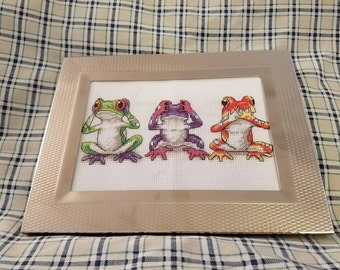 Framed Cross Stitch Frogs