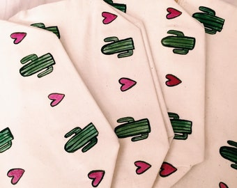 Cactus Heart Print Make Up Bag