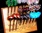 Deluxe - Custom dart rack and desktop display - Multiple styles! Light , Medium , Dark Oak, Ebony, Clear Coat - FREE FEET and Keyholes!!
