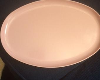 1950's 1960's Spaulding Ware Pink Melamine Oval Pink Tray Platter
