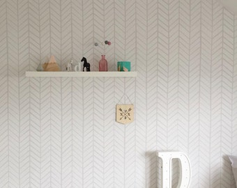Removable Wallpaper, Herringbone wallpaper, wallpaper, Herringbone, Peel and stick wallpaper, Self adhesive wallpaper, Grey wallpaper
