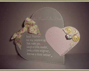 Freestanding Wooden Heart Within a Heart Handcrafted