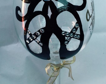 Just a little tispy! - Handpainted wine glass