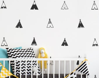Teepee Wall Decals - Nursery Decals, Vinyl Wall Decals, Tribal Decals, Wall Stickers, Tribal Nursery Decor, Wall Decor, Bedroom Decals