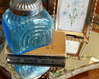 Blue Glass Storage Jar