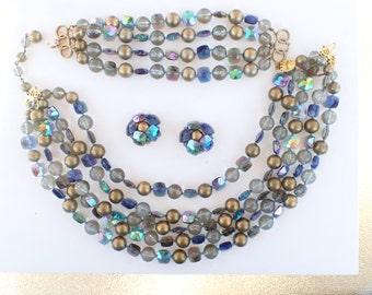 REDUCED Marvella five strand necklace four strand bracelet clip on earring demi set Z80