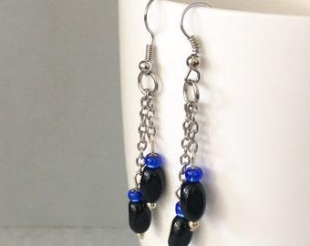 Black dangle earrings, black drop earrings, blue dangle earrings, blue drop earrings, black earrings, blue earrings, black chain earrings