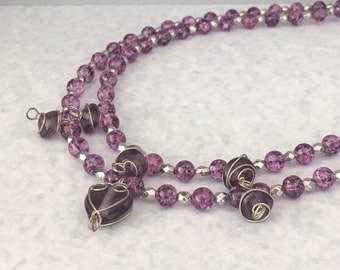 Purple beaded necklace, multistrand necklace, purple necklace, necklace purple, purple multistrand necklace