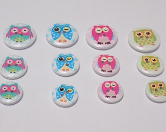 12 Wooden Owl Buttons - #WS-00044