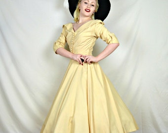 Vintage Late 1940's, Early 1950's New Look Inspired Dress