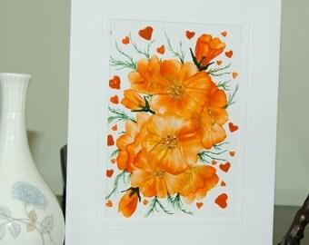 Encaustic Wax Original Art Card, Floral card 3, Valentine