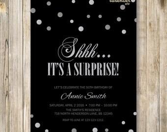 Shhh It's A Surprise Birthday Invitation, Surprise 50th Birthday Invite, Silver and Black, Surprise Birthday Party, Surprise 60th Invites