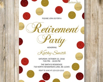 GOLD RED RETIREMENT Party Invitation, Gold Red Glitters Retirement Celebration Dinner, Modern Woman Retiring Confetti Invite, Diy Printables