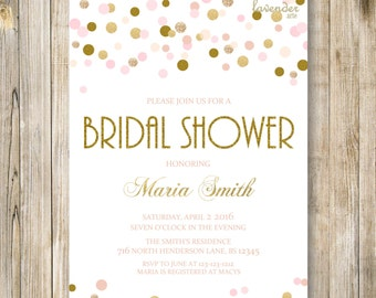 Pink Gold RUSTIC BRIDAL Shower Invitation, Blush Pink Polka Dots Wedding Shower Invite, Gold Couples Shower, Tying the Knot, Printables