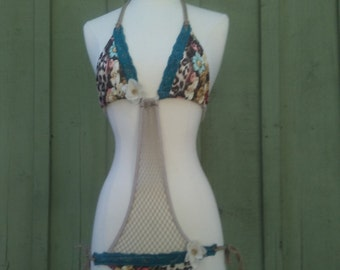 Leopard and floral monokini