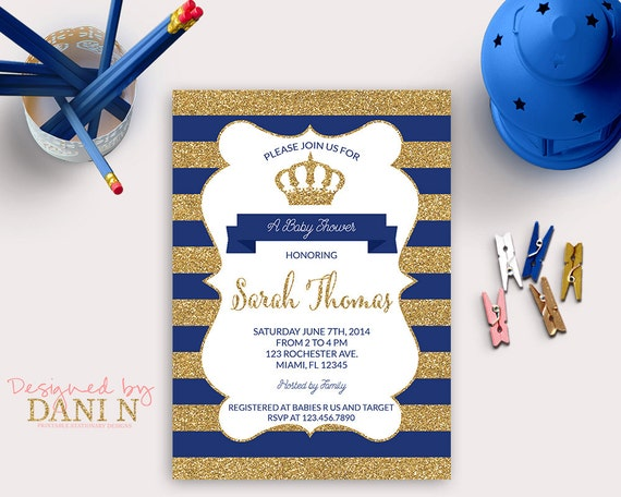 Prince Invitation Gold and Navy Baby Shower Little prince