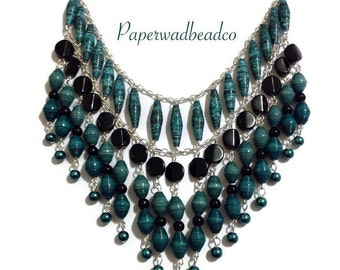 Teal and Black Paper Bead Statement Necklace, Paper Bead Bib Necklace, Statement Jewelry, Paper Bead Jewelry, Paperbead Jewelry