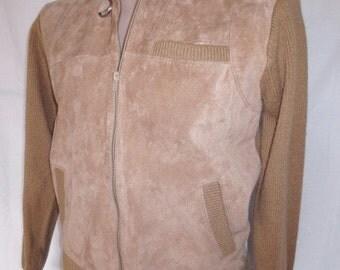 Vintage 1980's Men's Suede Leather Sweater Jacket camel tan sz  M