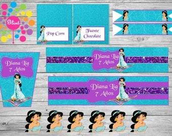 New!!! Girl!!!!! PRINCESS JASMINE, Printable Party Set! CUSTOMIZED!!!