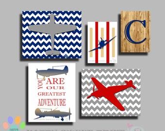 Personalized  Nursery wall art,planes crib bedding,World war vintage wall decor,planes canvas,monogram art,navy-red-gray,airplane print 158