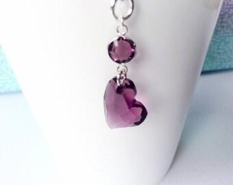 AMETHYST HEART NECKLACE - Valentine Heart Necklace - Swarovski Heart - Amethyst Valentine - February Valentine Birthday