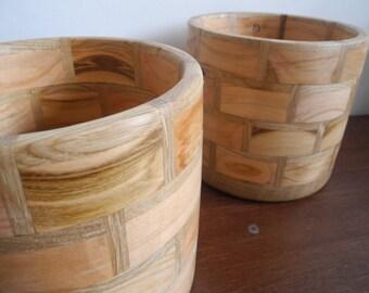 Pot segmented wood oak and cherry