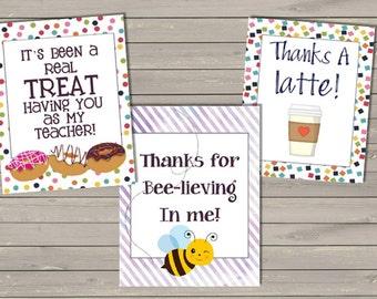 Teacher Thank You Gift Tags - Printable File