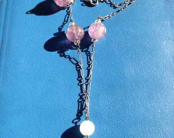 20's Amethyst  and Quartz Sterling Necklace