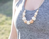 Silicone Teething Necklace for Mom - Nursing and Babywearing Distraction - Tan BPA free Chew Beads - Organic Maple Wood Beads - Gift for Mom