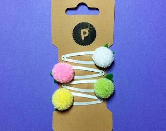 Petal Pom Pom Hair Clips