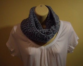 crocheted infinity scarf circle scarf, dusty blue
