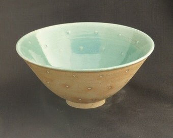 Hand Thrown Stoneware Dotty Bowl - Medium