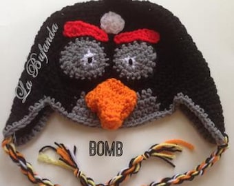 Bomb-Angry Birds Crochet Hat - Inspired Green Beanie with Earflaps - Kids and Adults Hats - Black Beanie